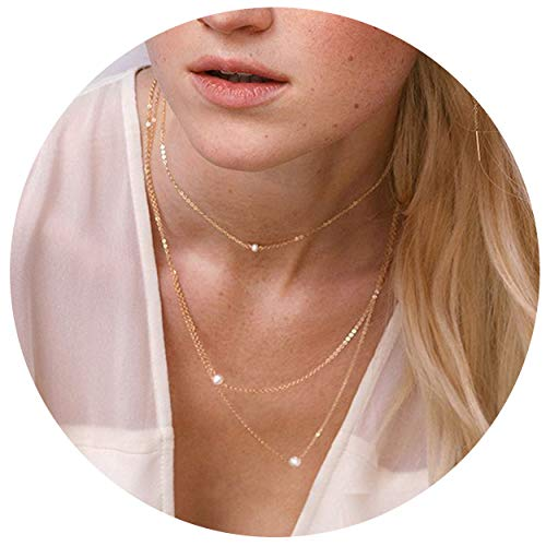 So Pretty Dainty Layered Freshwater Pearl Necklaces Handmade Tiny Single Pearl Gold Choker Layering Chain Necklaces Set for Women Girls