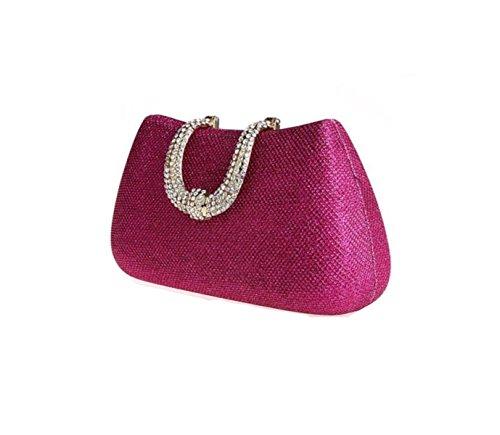 GSHGA Para Mujer Del Bolso De Embrague Banquete Paquete Diamante Paquete Femenino Bolsos De Tarde Del Bolso Nupcial Bolso De Boda,Gold RoseRed