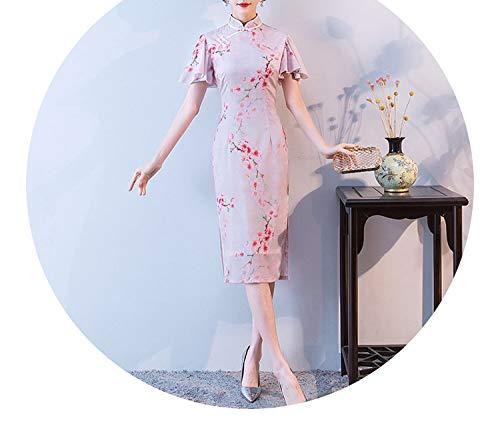 コンペ突き刺す効果的チャイナドレス新しいスリムドレス女の子新鮮な蓮の葉スリーブチャイナドレスドレス,ライトピンク,M