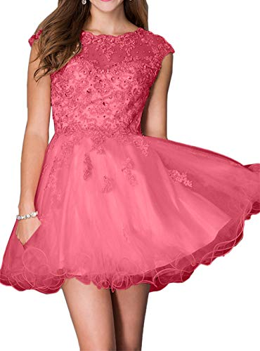 La mit Mini Cocktailkleider Wassermelon Kleider Tanzenkleider Rosa Spitze Steine Braut Marie Abendkleider Heimkehr rqw8IxXr