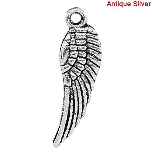 (Angel Wings Charms, 95 Pc Tiny Silver Tone 5/8 inch)