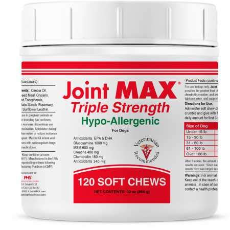 Joint MAX Triple Strength Hypo-Allergenic Soft Chews for Dogs - Hip and Joint Support Supplement with Glucosamine, Chondroitin, MSM - Made in The USA - 120 Soft Chews
