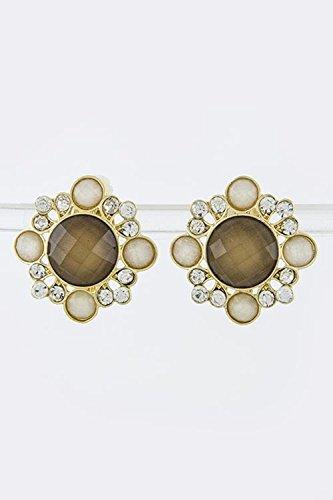 Judith Ripka Gemstone Ring (THE JEWEL RACK FLORAL STONE POST EARRINGS (Brown))