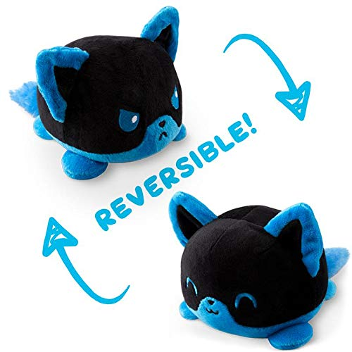 (TeeTurtle Reversible Fox Mini Plush, Blue/Black )