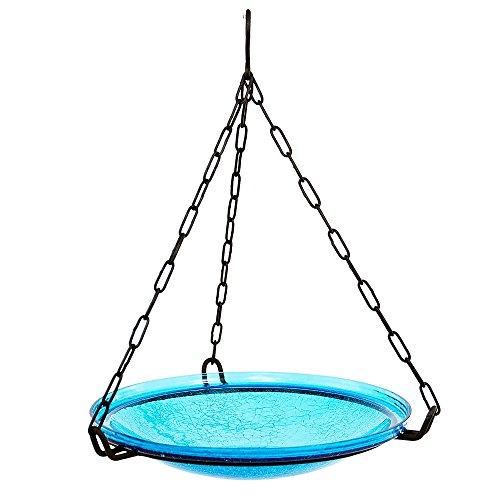 Achla Designs Crackle Glass Hanging Birdbath, 14-in bowl, Teal