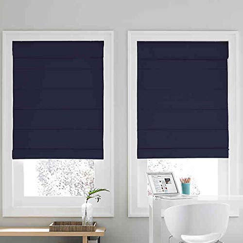Real Simple Cordless Roman Cellular Shade (Navy, 34″ X 72″)