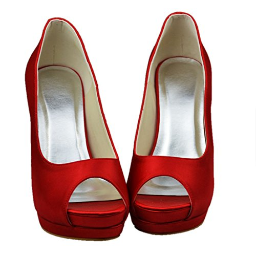 Open 11cm Evening Satin Shoes GYAYL015 Womens Party Toe Bridal Heel Minitoo Red Wedding Heel Stiletto wfIqqpO