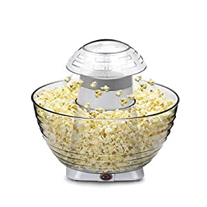 Home Kitchen Electric Popcorn Machine, Hot Air-pop Popper Corn Maker 16 Cups Family Size of Popcorn with Collapsible Bowl, No Oil Needed, Easy Cleaning & Simple to Use (White)