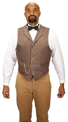 Historical Emporium Men's Single Breasted Herringbone Tweed Dress Vest XL Brown ()