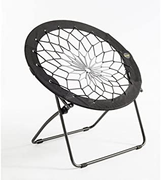 Bunjo Bungee Chair Charcoal Large. Dorm, Bedroom, Entertainment Center, Patio Furniture. Portable Enough to Take to Sporting Events and Camping
