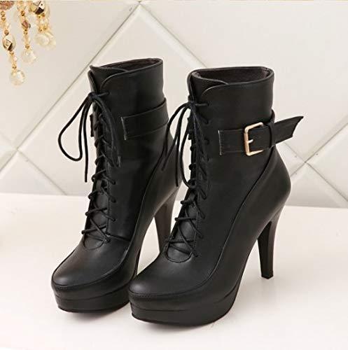 FMWLST Stiefel Runde Kopf High Schuhe High Kopf Heels Stiefeletten Winter Warme Damen Stiefel 2c4a10