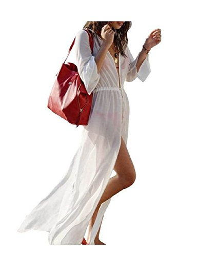 NFASHIONSO Women Sexy Long Beach Bikini Cover-up Dress
