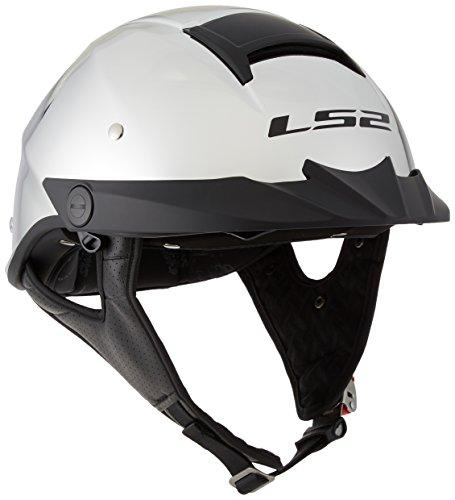 Silver Motorcycle Half Helmet - LS2 Helmets Rebellion Unisex-Adult Half Helmet Motorcycle Helmet (Chrome, Medium)