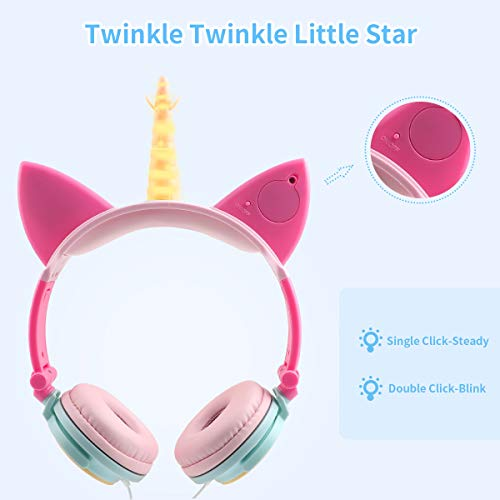 Unicorn Kids Headphones Girls, Wired Headphones Over Ear, Foldable Adjustable Cat Ear Headphones 3.5mm Jack,85db Volume Limited, Home/Travel(Yellow+Petals)