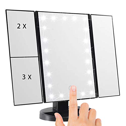 (Kricson Tri-Fold Lighted Makeup Mirror with 21 LED Lights 1X/2X/3X Tri-Fold Magnifying Vanity Makeup Mirror With Touch Screen On/Off Cosmetic Folding Illuminating Portable HD Travel Mirror (Black))