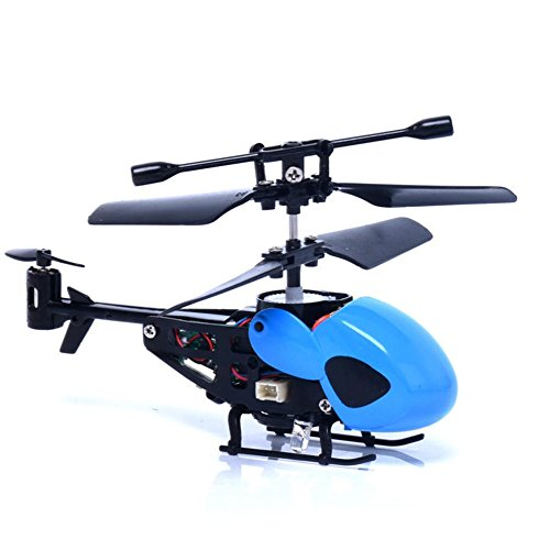 (Gotian Mini Rc Helicopter Radio Remote Control Aircraft Toy Gift Micro 3.5 Channel Toys Birthday Presents for Children Gifts (Blue))