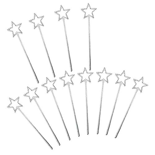 Kicko Mini Fairy Star Princess Wands - Pack of 12-5 Inches, Color Silver, Star Shape with Beads - for Kids, Birthday, Halloween, Princess, Costume, themed Party, Prize