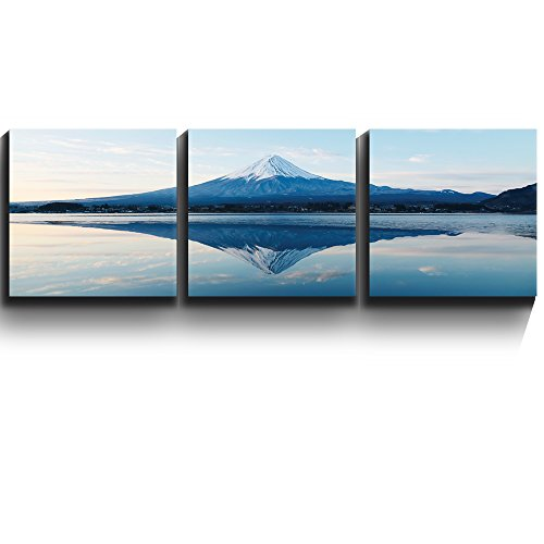 3 Square Panels Contemporary Art Mt Fuji and reflection on a perfectly smooth lake Three Gallery ped Printed Piece x3 Panels