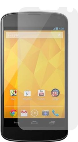 amFilm (TM) Premium Screen Protector Film Clear (Invisible) for Google LG Nexus 4 (3 Pack) (With 2 bonus back films)