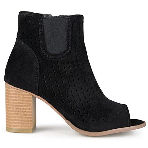 Brinley Co. Womens Faux Suede Chunky Heel Open Toe Booties Black, 7 Regular US