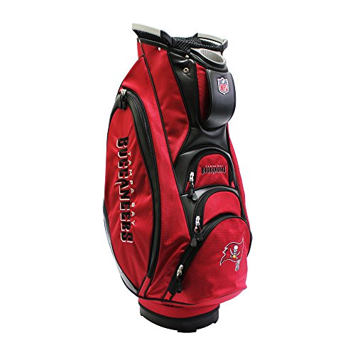 Team Golf NFL Tampa Bay Buccaneers Victory Golf Cart Bag, 10-way Top with Integrated Dual Handle & External Putter Well, Cooler Pocket, Padded Strap, Umbrella Holder & Removable Rain ()