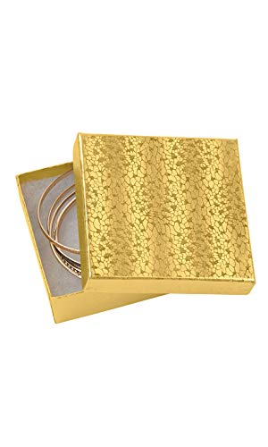 Embossed Box - Cotton Filled Gold Embossed Jewelry Boxes - 3½