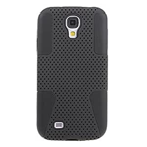 LZX Hybrid Silicone and Plastic Protective Back Case Cover for Samsung Galaxy S4 I9500 (Black)
