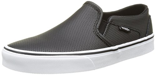 Vans Women's Asher Trainers, Black(Black(Perf Leather)), 7.5 UK 41 EU