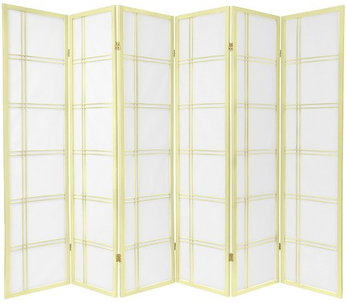 Oriental Furniture 6 ft. Tall Double Cross Shoji Screen - Special Edition - Ivory - 6 Panels
