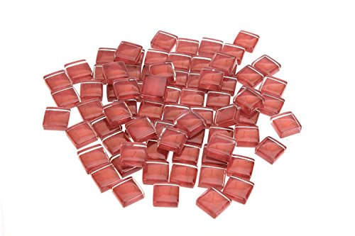 Milltown Merchants 4/10 Inch (10mm) Crystal Glass Mosaic Tile, 1 Pound (16 oz. Bag) (1 Pound, Dark Red)