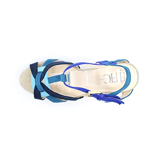 FFC New York Womens Alexia High Heel Suede Fashion Sandals Blue Multi EfOab232