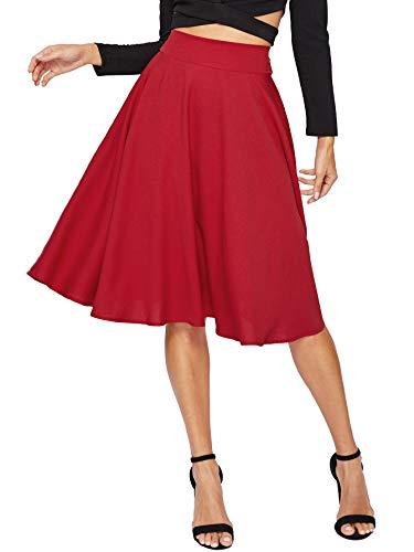 Floerns Women's High Waist A Line Knee Length Pleated Midi Skirt Burgundy L ()