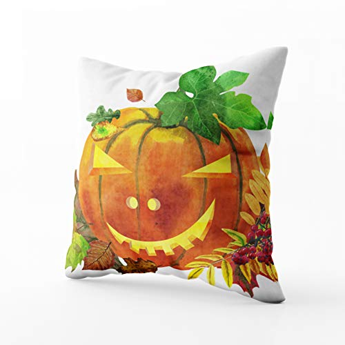 Capsceoll Art Pillow Case, Watercolor Halloween Pumpkin Painted Carved Faces Pumpkins with Leaves 20x20 Pillow Covers,Home Decoration Pillow Cases Zippered Covers Cushion for Sofa Couch]()