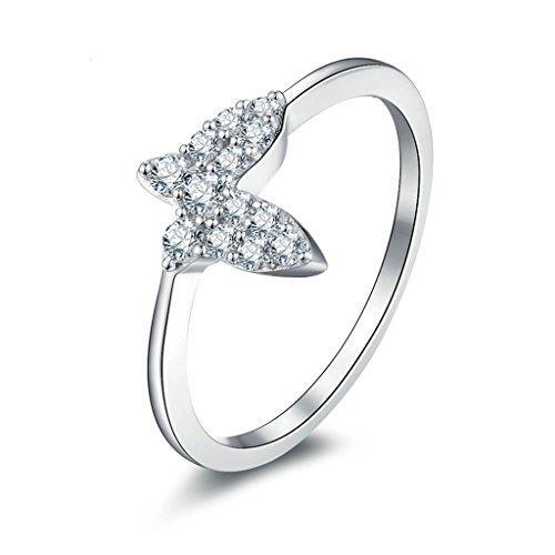 Sterling Silver Enhancer Mounting (Epinki Women Rings, 925 Sterling Silver Ring Engagement Rings Wedding Rings Butterfly CZ Size 10)