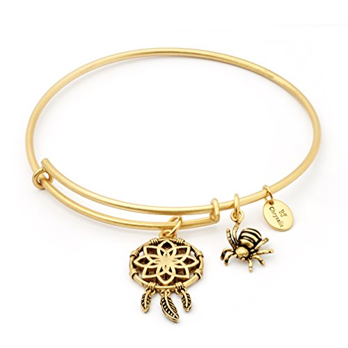 Antique Thin Layering Metal Wire Adjustable Charm Bangle Bracelet, Oxidized, 14K Yellow Gold Plated ()