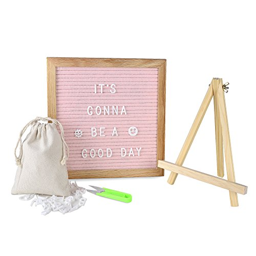 OlisChoice Changeable Pink Felt Letter Board 10x10 Inch with 340 Letters, Tripod Stand, Scissors & Canvas Bag - Message Sign Board with Emoji, Alphabet, Numbers - Oak Message Board, Marquee Sign by -