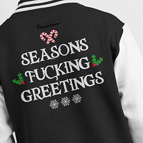 Men's Men's Varsity Greetings Jacket Coto7 Fucking Black White White White Seasons Christmas OwvxqZU