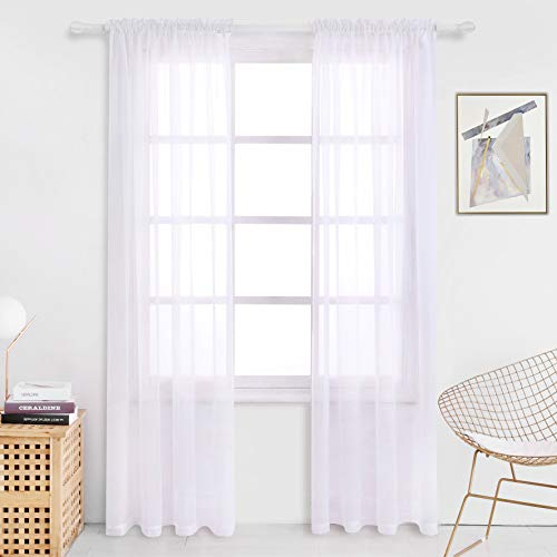 (Milly&Roy Sheer Curtains Rod Pocket Voile Drape for Living Room Bedroom 54 x 84 inch White Set of 2 Curtain Panels)