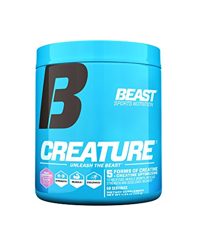 Beast Sports Nutrition – Creature Creatine Complex – Fuel Muscle Growth – Optimize Muscle Strength – Enhance Endurance – Increase Recovery Time – Five Forms of Creatine – Pink Lemonade 60 Servings (Fuel Pump Creatine)