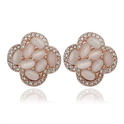 Kin Green Rose Gold Flower Ear Clip Inlaid Diamond Cat Stone/ti-Allergic/Silver Flashing/Diamond/Crystal Element Earrings/Small d Exquisite (Color : Photo Color)