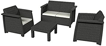 Keter Salon de jardin VEGAS LOUNGE anthracite: Amazon.fr: Jardin