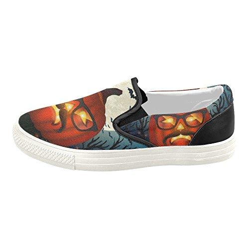 D-story Custom Happy Halloween Zucca Uomo Slip-on Scarpe Di Tela Moda Sneaker Halloween8