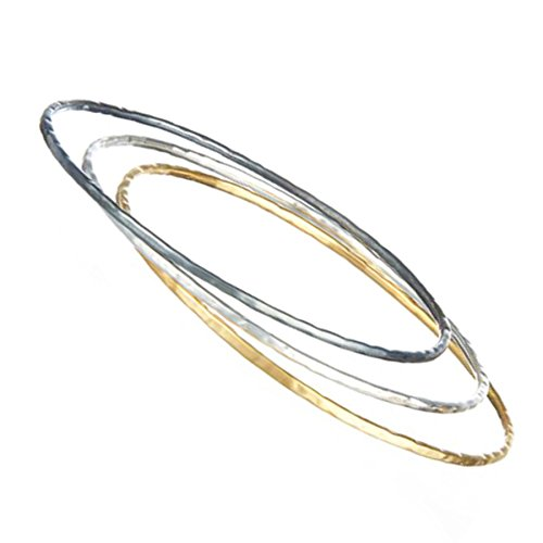 Trio de bracelets en argent et or