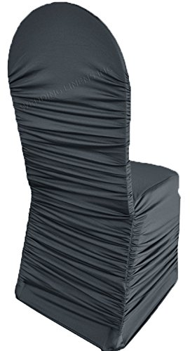 (Wedding Linens Inc. Ruffle Spandex Banquet Fitted Chair Covers, Ruffled Ruched Lycra Stretch Elastic Wedding Party Decoration Chair - Pewter/Charcoal)