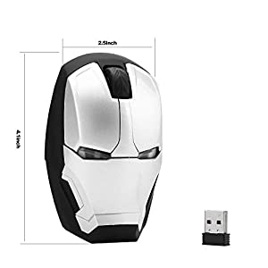 Avengers Endgame Iron Man Mouse Wireless Mouse Ergonomic 2.4 G Portable Mobile Computer Click Silent Mouse Optical Mice with USB Receiver Gaming Mouse (Silver)