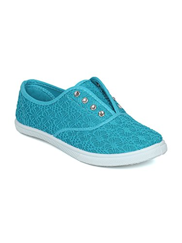 (Alrisco Women Lace Fabric Lace Free Rhinestone Slip On Sneaker HD88 - Blue Mix Media (Size: 6.5))
