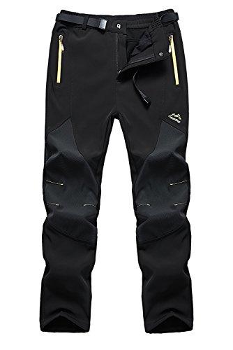 Anlamb Men's Outdoor Waterproof Windproof Fleece Cargo Snow Ski Hiking Pants US16606M Black XL (Ski Pants Windproof)