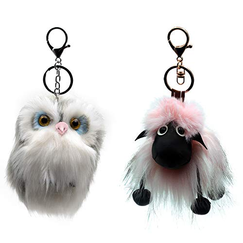 Owl And Sheep Plush Keychain-2 PCS Novelty Animal Hanging Ornament Backpack Wallet School Bag Key Chain Decor