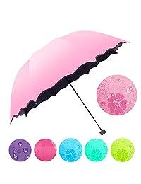 Sombrilla Tulas Parasoles Simple Fashion Mujer Paraguas Paraguas Resistente al Viento Parasol Mágica Flor Cúpula Ultravioleta Parasol Solar Lluvia Plegable Paraguas, Azul