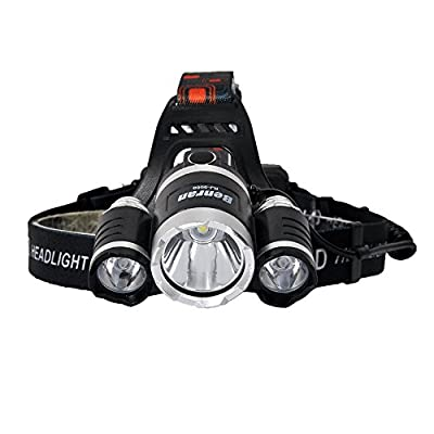 Benran Waterproof LED Headlamps Headlight Rechargeable Head Flashlight Lamp with 3 Xm-l T6 4 Modes Outdoor Sports Hiking Camping Riding Fishing Hunting